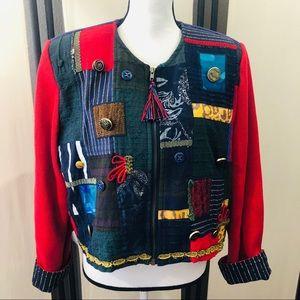 Crystal handwoven vintage patchwork jacket M